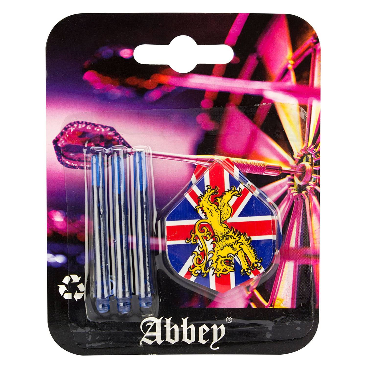 Korting Abbey Darts Dartflights En Shafts Pvc Transperant 6 delig