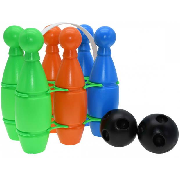 Reydon bowling set junior 23,5 x 15 x 13,5 cm groen/oranje/blauw