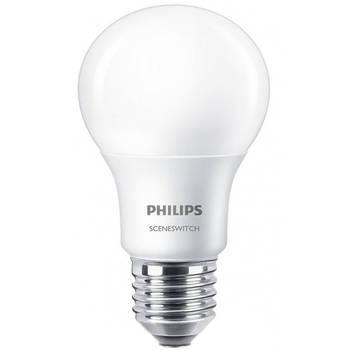 Korting Philips Led Lamp Sceneswitch 827 A60 E27 Fitting Dimbaar 1.6w 7.5w Warm Wit 2200k 2700k Vervangt 16w 60w