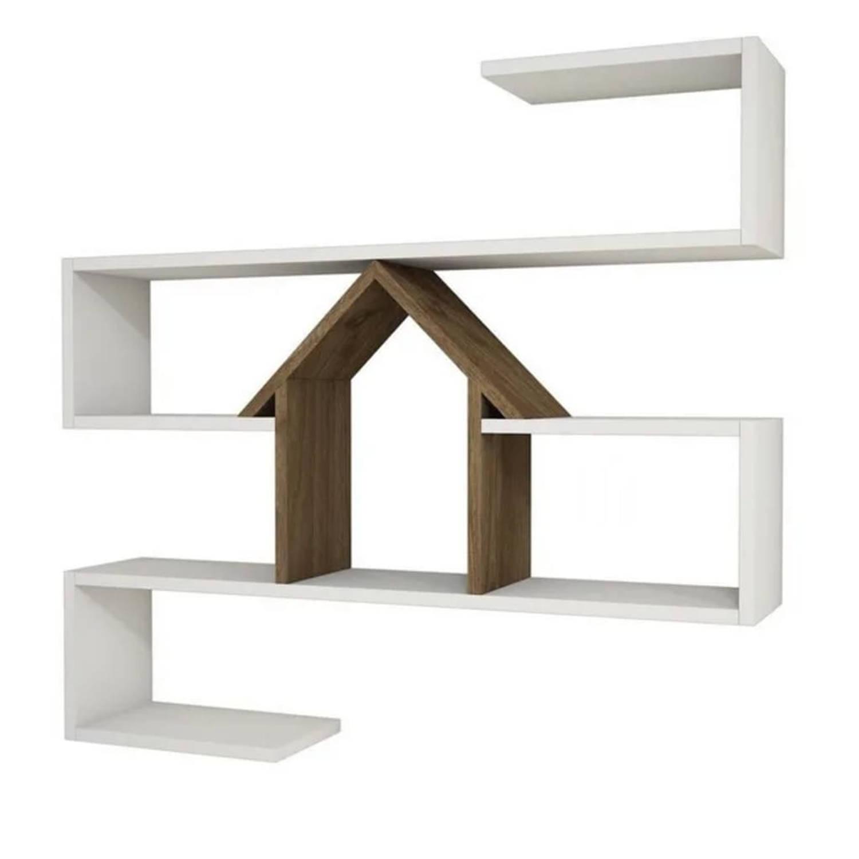 Homemania Wandschap Nest 100x22x93 Cm Wit En Walnootkleurig online kopen
