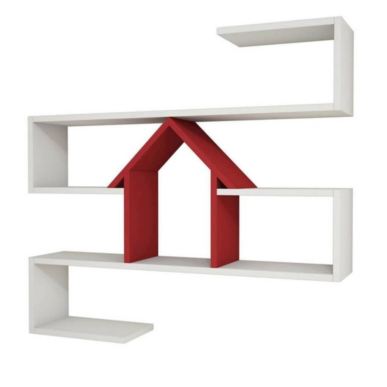 Homemania Wandschap Nest 100x22x93 Cm Wit En Rood online kopen