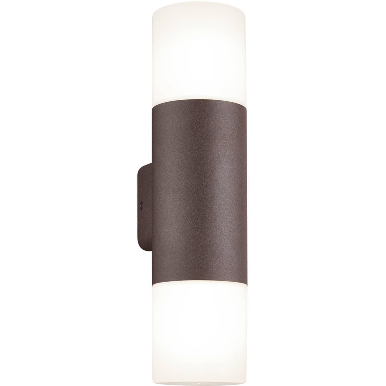 Led Tuinverlichting - Wandlamp - Trion Hosina - E27 Fitting - 2-lichts - Roestkleur - Aluminium