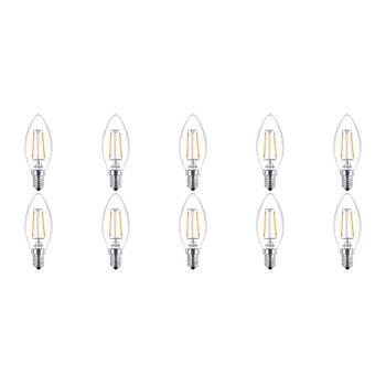 Korting Philips Led Lamp 10 Pack Filament Classic Ledcandle 827 B35 Cl E14 Fitting 2w Warm Wit 2700k Vervangt 25w