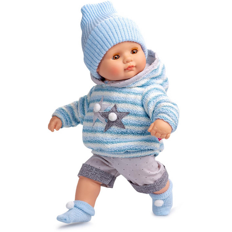 Berjuan babypop 34 cm vinyl-textiel blauw-grijs-wit