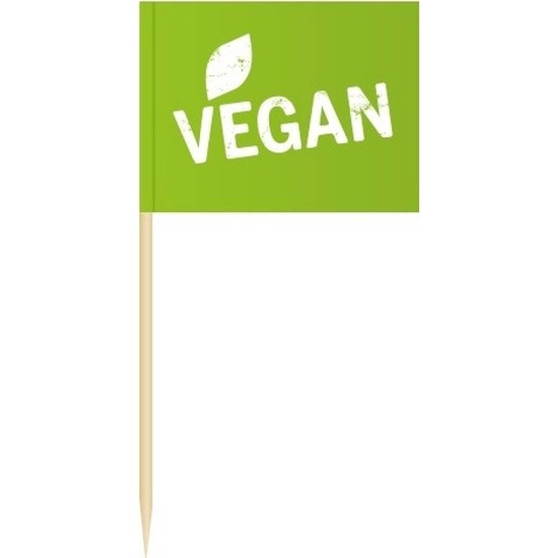 100x Cocktailprikkers Vegan 8 Cm Vlaggetjes - Houten Spiesjes Met Papieren Vlaggetje - Wegwerp Prikkertjes