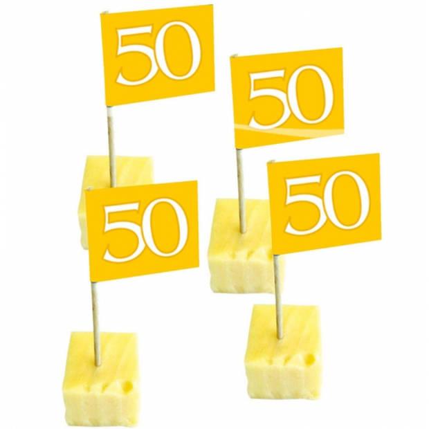 100x stuks cocktailprikkers 50 jaar thema feestartikelen - getrouwd - jubileum - versieringen