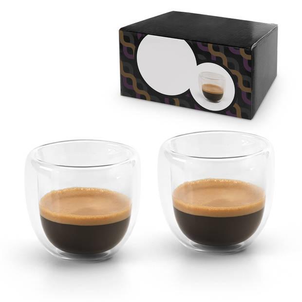 Set van 4x dubbelwandige koffie/espresso glazen 75 ml - transparant - Espresso bekers en glazen