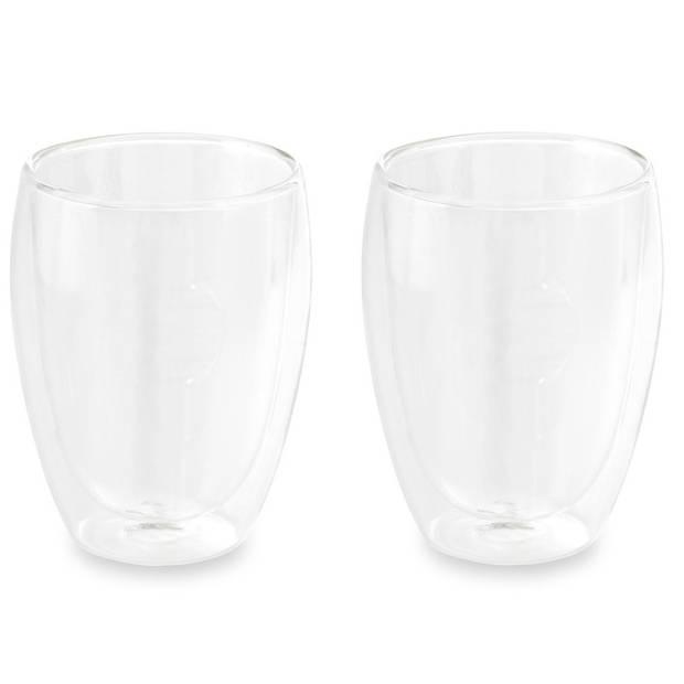 Set van 2x dubbelwandige thee/koffieglazen 350 ml transparant - Cappucino / Machiato glazen 19,5 x 12,5 x 9,5 cm