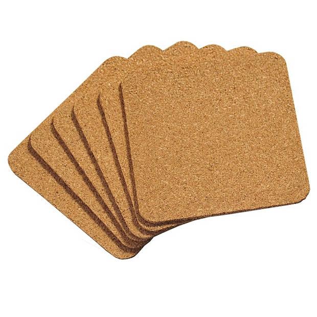 SET van 6 STUKS Onderzetters, Materiaal: Kurk Vierkante Onderzetters