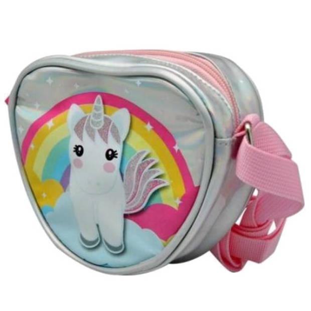 Sweet Dreams schoudertas eenhoorn 15 x 12,5 cm PU zilver/roze