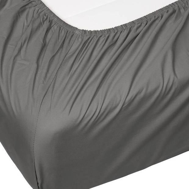 Essenza Premium percale katoen hoeslaken extra hoog - 100% percale katoen - 1-persoons (80x200 cm) - Steel grey