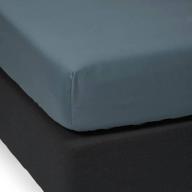 Essenza Satin hoeslaken - 100% katoen-satijn - 1-persoons (90x200 cm) - Stone blue