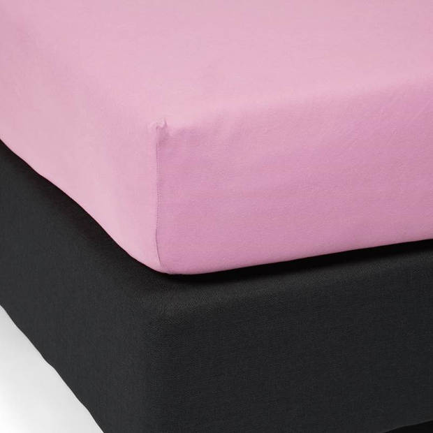 Essenza Mako jersey hoeslaken - 100% gebreide jersey katoen - Lits-jumeaux (180/200x200/220 cm) - Lychee