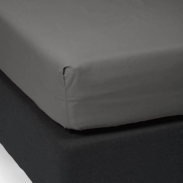 Essenza Premium percale katoen hoeslaken extra hoog - 100% percale katoen - 1-persoons (90x220 cm) - Steel grey