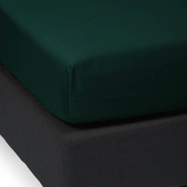 Essenza Satin hoeslaken - 100% katoen-satijn - 1-persoons (90x210 cm) - Pine Green