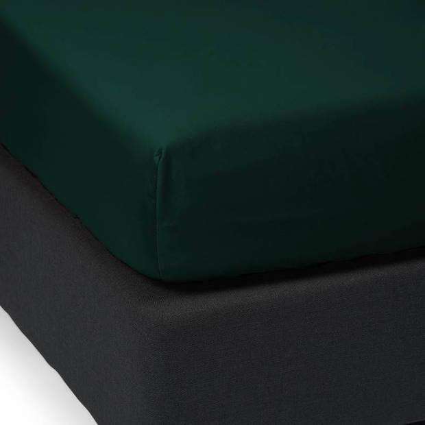Essenza Satin hoeslaken - 100% katoen-satijn - 2-persoons (140x200 cm) - Pine Green