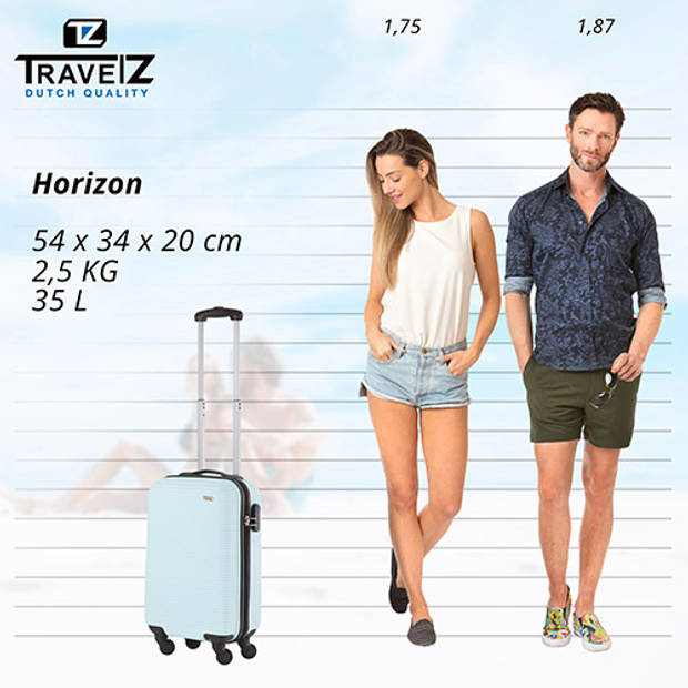 TravelZ Horizon Handbagagekoffer - 54cm Handbagage met cijferslot - Baby Blauw