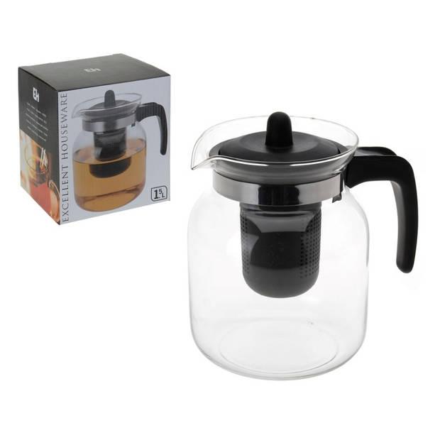 Voordelige glazen theepot van 1,5 liter met thee infuser
