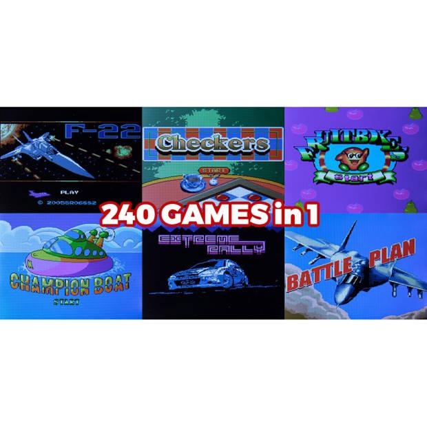 Silvergear Mini Retro Arcade Spelcomputer - Rood - 2.8 Inch Scherm - 240 Spellen