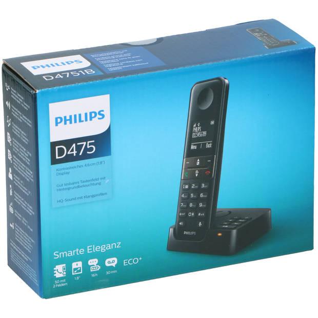 Philips Telefoon D4751B/01 - Draadloos - met Antwoordapparaat - Superieur Geluid - Zwart