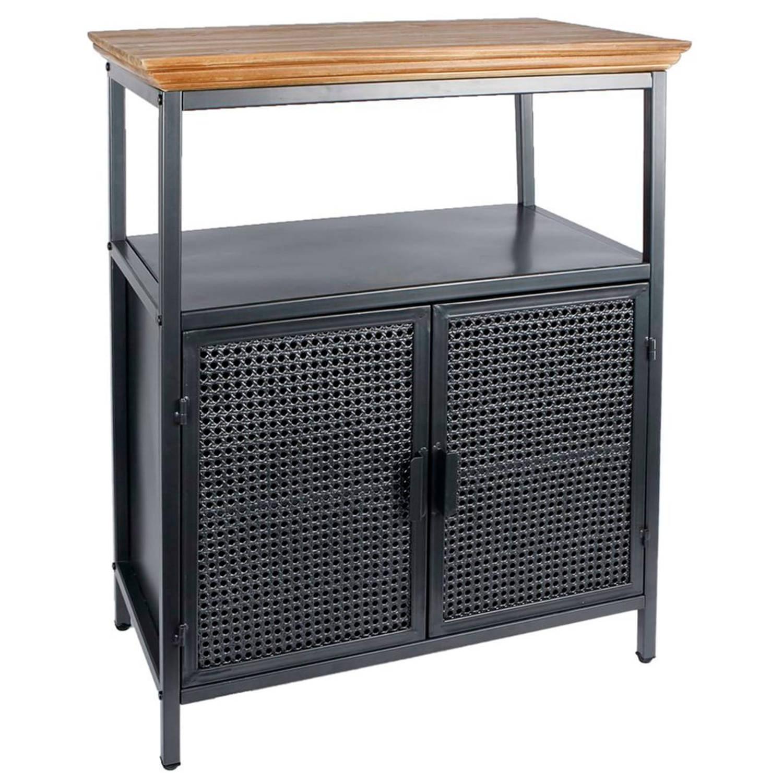 Van Manen kast met tafelblad Freek 66 cm staal zwart-naturel