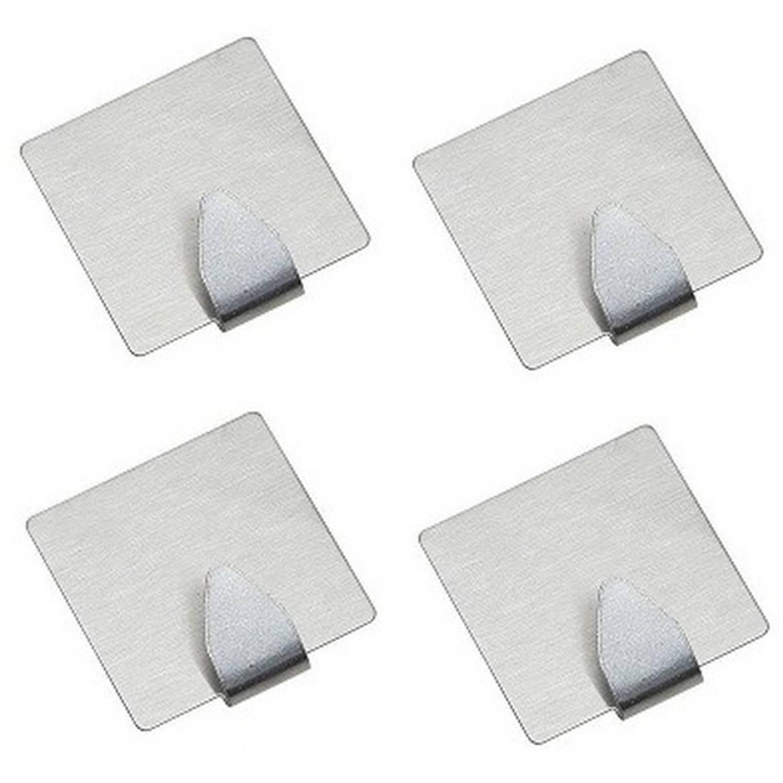 Korting 4x Rvs Handdoekhaakjes Ophanghaakjes Vierkant Zelfklevende Haakjes