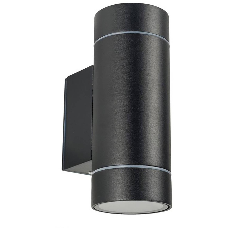 Led Tuinverlichting - Tuinlamp - Facto Noniry - Wand - 2-lichts - Gu10 Fitting - Mat Zwart - Alumini