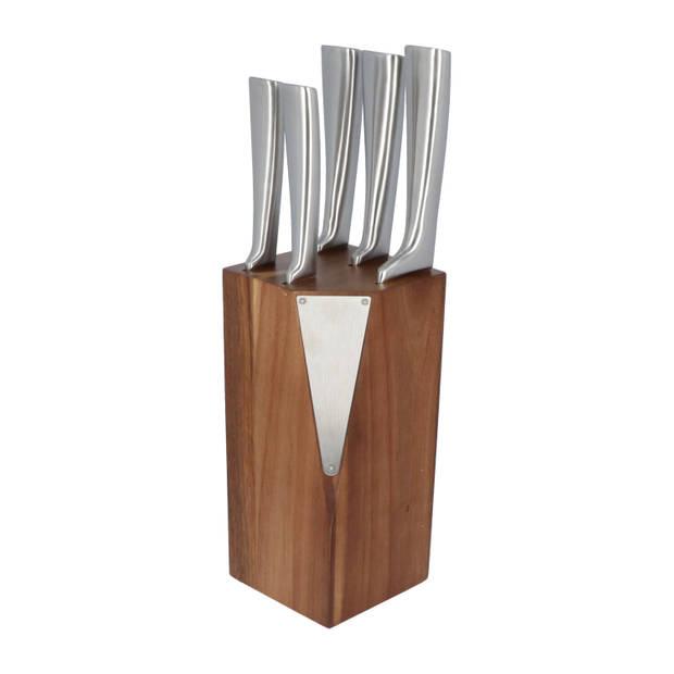 4goodz Messenblok Acacia hout met 5 RVS messen