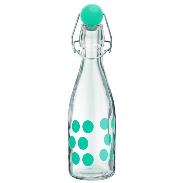 Zak!Designs waterfles Dot Dot 250 ml 21 cm glas aqua