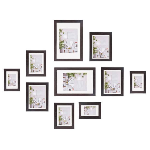 Henzo Fotolijst - Modern - Fotowand - 10 lijsten - Donkerbruin