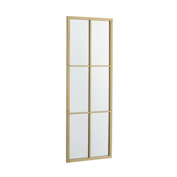 Rechthoekige spiegel met 6 kleine vierkantjes - 38 x 3,2 x 107 cm - Goudgeel