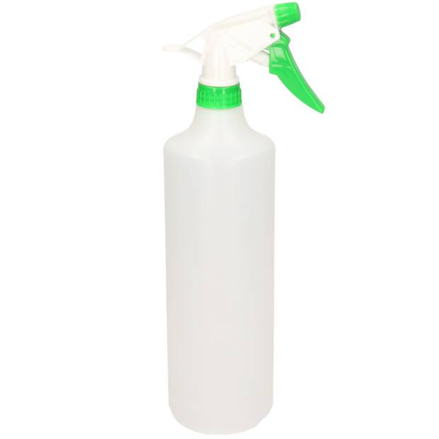 1x Waterverstuivers/spuitflessen groen/witte spraykop 1 liter - Plantenspuiten/schoonmaakspuiten