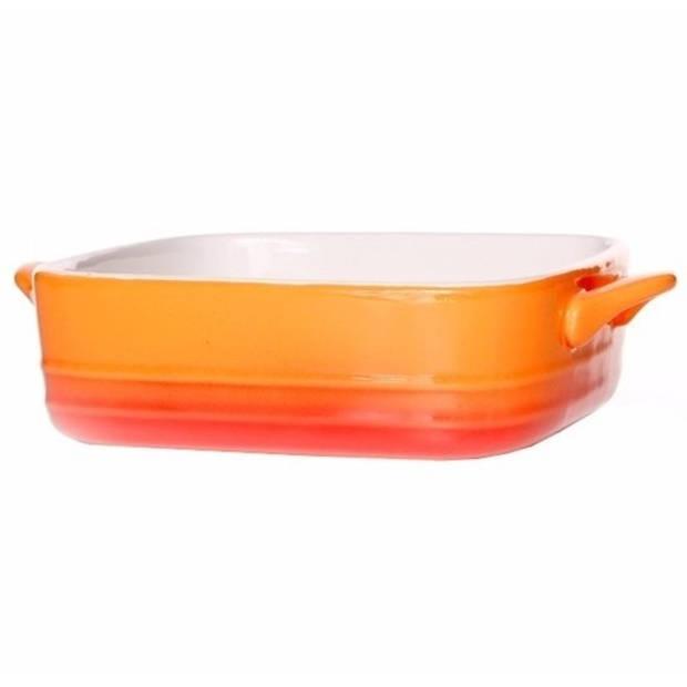 Oranje ovenschaal / braadslede - porselein - 16 x 16 cm