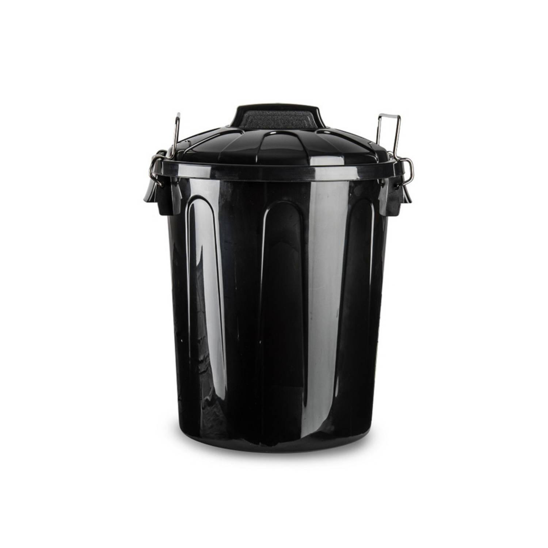 Kunststof Afvalemmers/vuilnisemmers In Het Zwart Van 21 Liter Met Deksel - Vuilnisbakken/prullenbakk