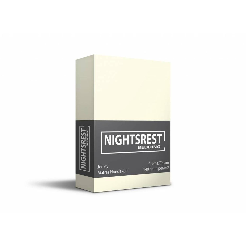 Korting Nightsrest Jersey Hoeslaken Crème Maat 1 persoons (80 90x200cm)