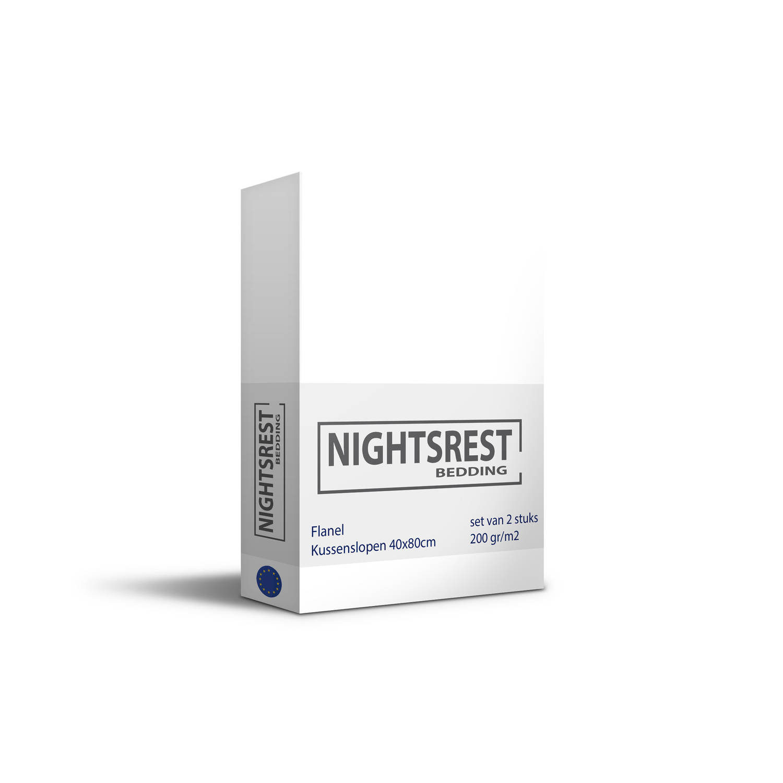Korting Nightsrest Flanel Kussensloop Set Van 2 40x80cm Met Hotelsluiting Wit