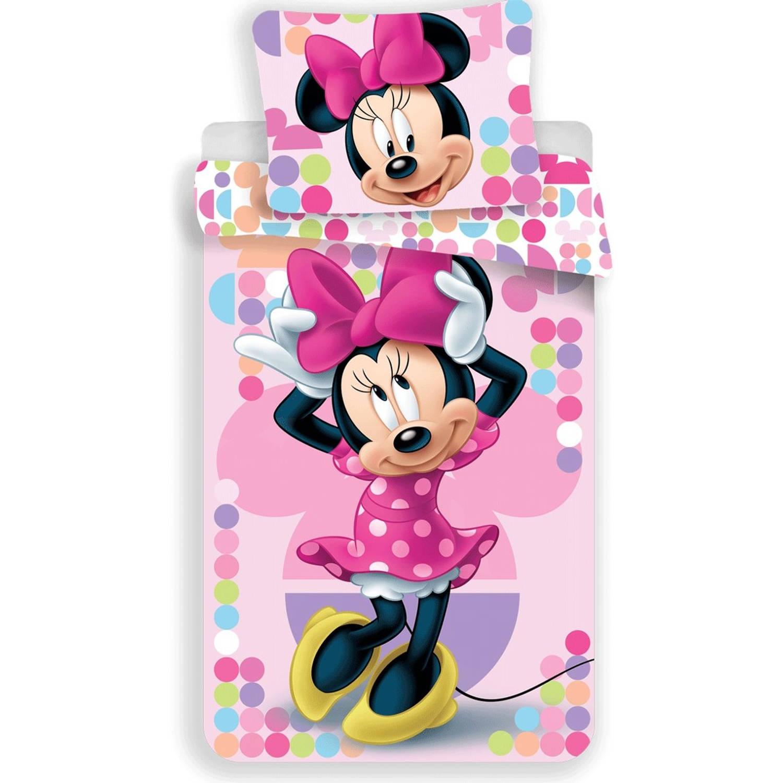 Korting Dekbedovertrek disney Minnie Mouse Pink eenpersoons 140x200 Cm Roze