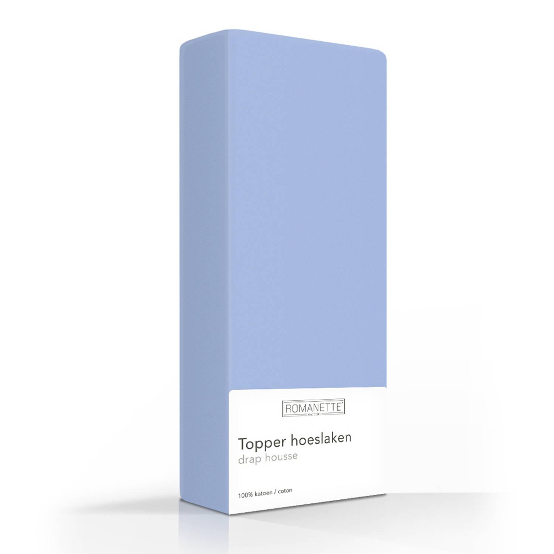 Romanette Romanette Luxe Katoenen Topper Hoeslaken Blauw Maat: 120