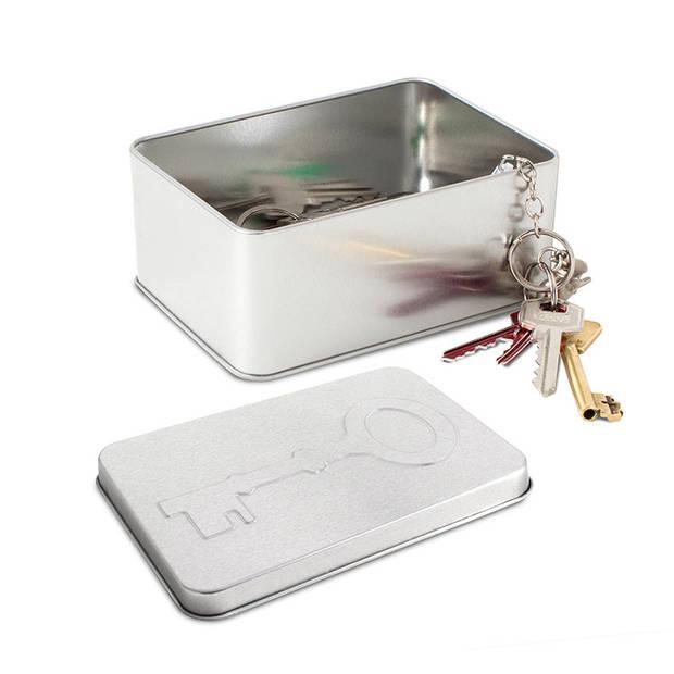 Balvi opbergblik sleutels 14,2 x 10,2 cm tin zilver
