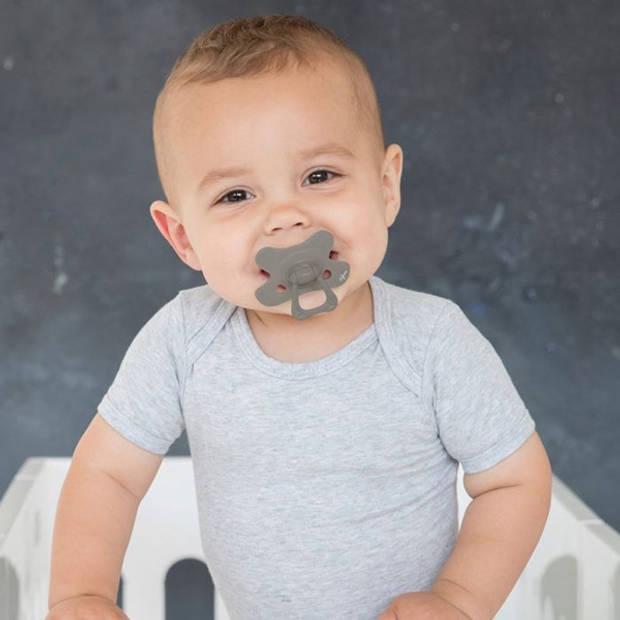 Fopspeen Difrax 6-12 maanden Natural Pure Clay grijs
