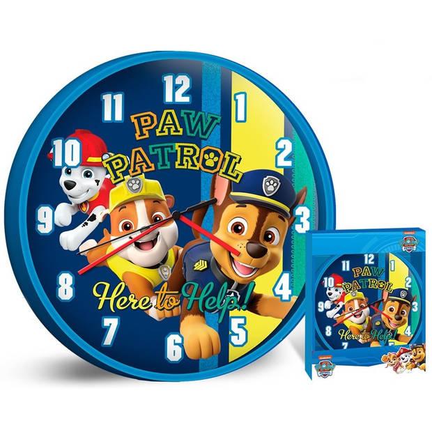 Nickelodeon wandklok Paw Patrol jongens 25 cm blauw