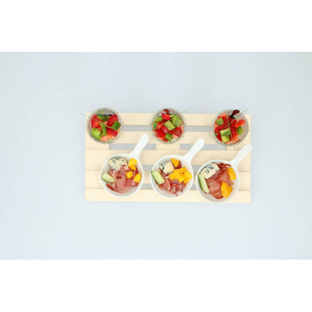 Alpina Amuseset - Houten Tray - Minipallet - 3 Glaasjes - 3 Bakjes - 3 Lepeltjes