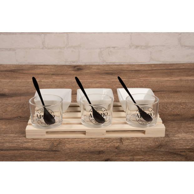 Alpina Amuseset - 1 tray - Minipallet - 3 Glaasjes 3 Bakjes 3 Lepels - voor Hapjes en Amuses