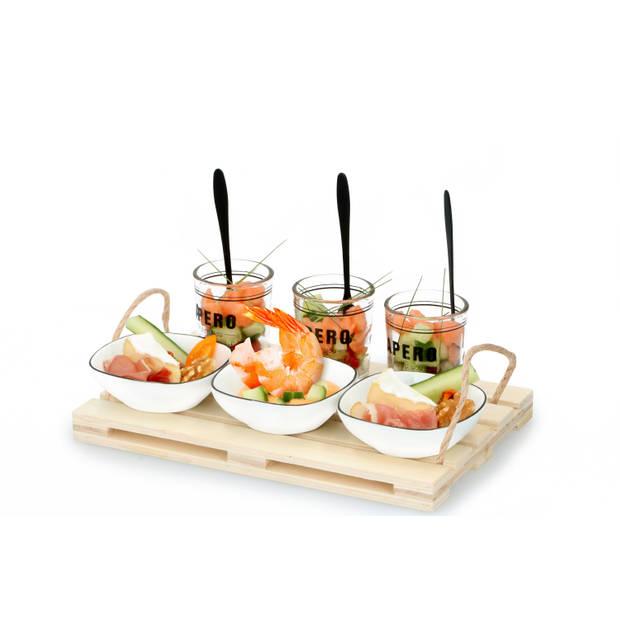 Alpina Amuseset - 3 Glaasjes 3 Bakjes 3 Lepels - Houten Tray - Voor hapjes en Amuses
