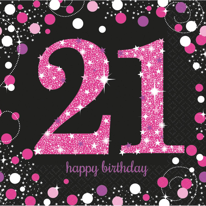Korting Amscan Servetten Sparkling Celebration Pink 33 Cm 16 Stuks