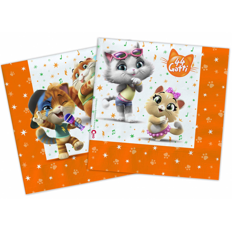 Korting Nickelodeon Servetten 44 Cats 33 Cm Papier Oranje 20 Stuks