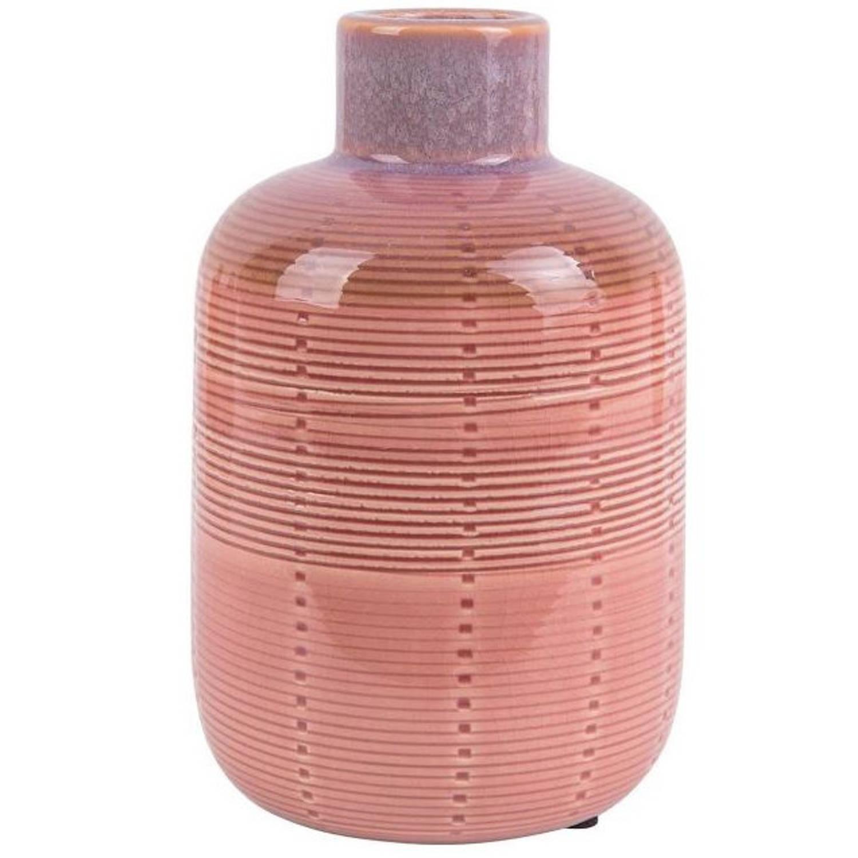 Present Time Vaas Bottle 11,7 X 18,5 Cm Keramiek Roze
