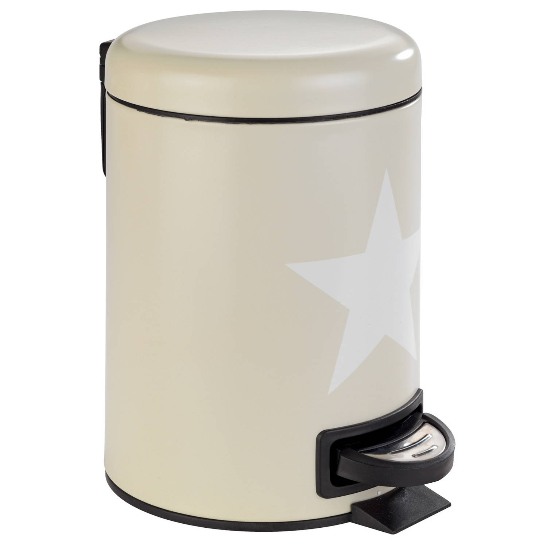 Wenko Pedaalemmer Stella 3 Liter 17 X 22,5 X 25 Cm Staal Crème