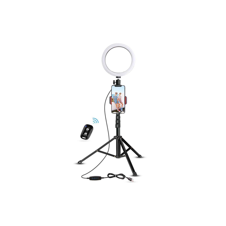 Fedec Smartphone Statief Met Led Ring Ring Lamp Universeel 95 Cm Tripod Inclusief Afstandsbediening