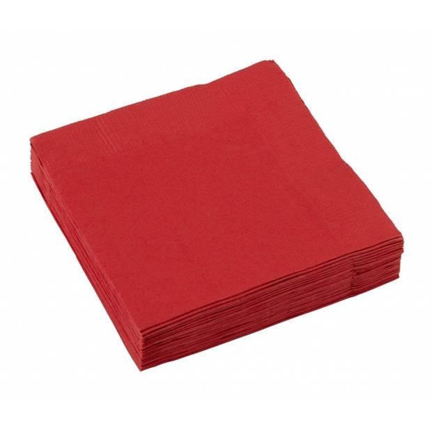 Amscan servetten rood 25 x 25 cm 50 stuks